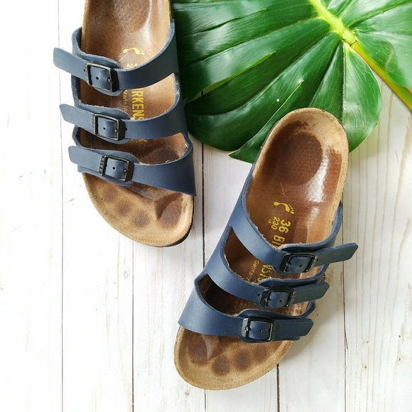 Birkenstock Shoes - Birkenstock Florida Birko-Flor Sandals Navy 1c2b598fcf7